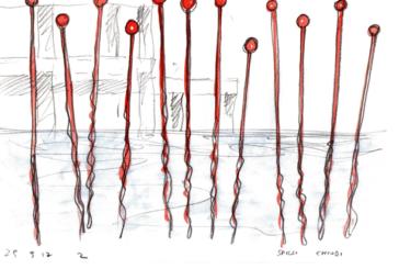 ALBERTO TIMOSSI: SPILLI  Installazione ambientale nel Lago Sandro Pertini (Ex Snia) di Roma