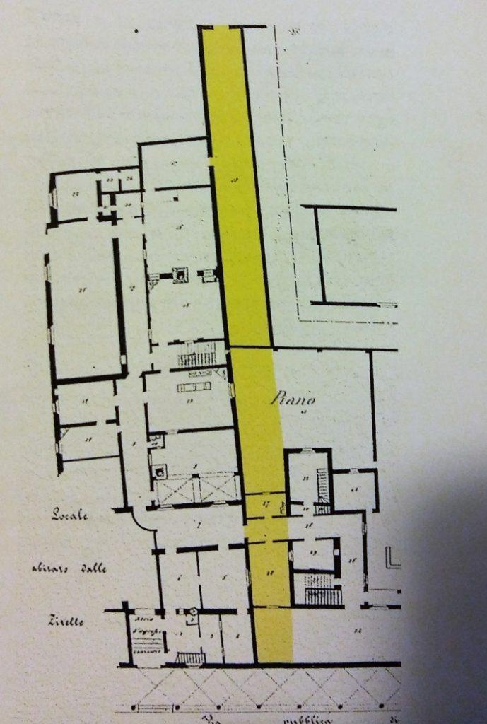 Casella di testo: Il tamponamento del collegamento dello stradello medievale con il portico di Via Santo Stefano.